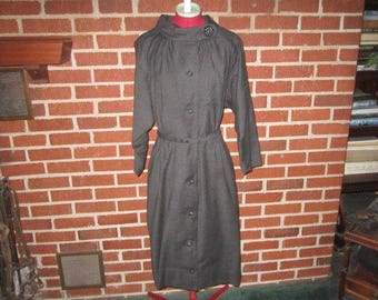 Vintage Eisenberg Originals 1950s/60s Charcoal Grey Wool Dress with Rhinestone Buttons in Immaculate Condition