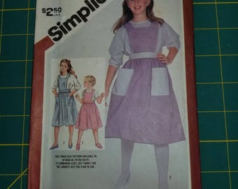 Girl 1980s Pinafore Apron Dolman Jumper Dress Blouse 10 12 14 Simplicity 6303