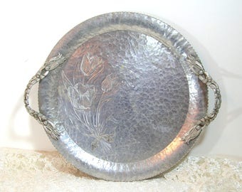 Vintage Aluminum Serving Tray With Tulips