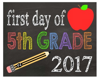 Fifth Grade| First Day of School| Chalkboard Sign| Back to School Sign| Printable PDF| Instant Download| Photo Props| Digital Prints