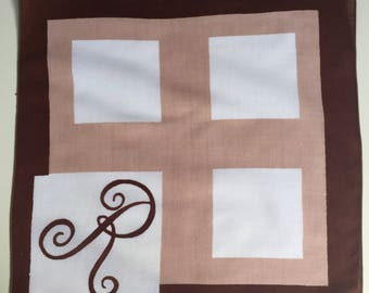 Vintage Brown and White Hanky with an Initial R - Handkerchief Hankie