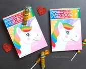 Unicorn Horn Valentine's Day Cards Twisty Rainbow Lollipop Sucker Cute Girly Valentines for School Printable DIY Easy Sucker Holder