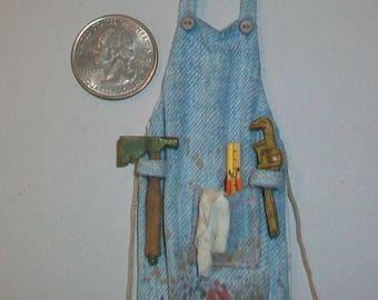 Miniature Denim Work Apron  1:12 scale