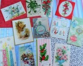 Simply Christmas All Holiday Subjects with Glitter and Shine in Vintage Christmas Card Lot No 1106 Total of 12 Ship in a Bottle!