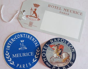 Paris Vintage Hotel Stickers and Luggage Tag The Meurice Intercontinental Hotel The Napolean Hotel Lot of 3