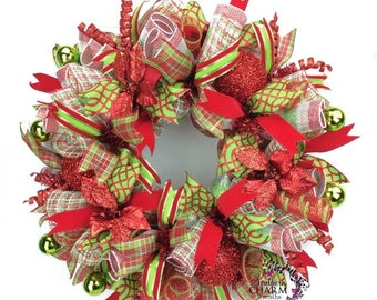 ON SALE Deco Mesh Christmas Wreath in Lime Green & Red with Poinsettias, Christmas Door Wreath, Holiday Wreaths, Wreaths for Christmas