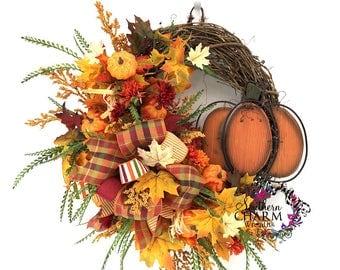 Fall Wreath, Pumpkin Wreath, Fall Wreaths for Front Door, Autumn Wreath, Fall Wreath Pumpkin, Fall Leaf Wreath, Autumn Door