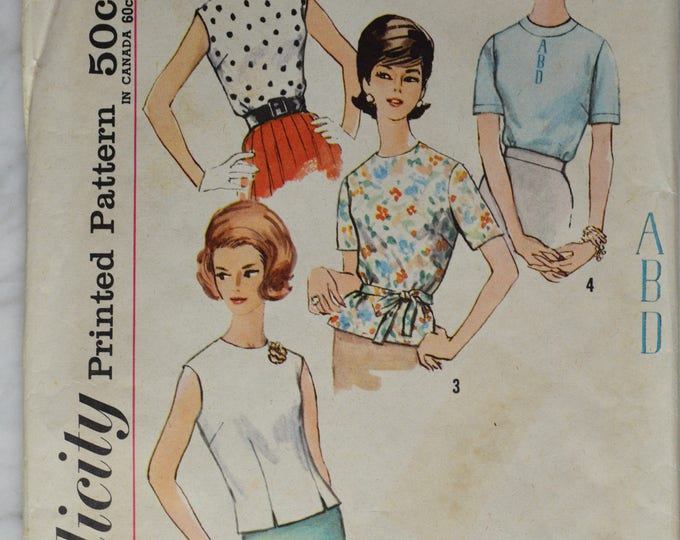 1950s Simplicity Blouse Pattern, Sheath Blouse Pattern, Shirt Pattern,Women's Swing, Sleeveless Blouse Pattern, Pattern, No 4935