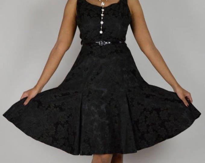 sale Black Vintage Dress, Brocade Dress, Sleeveless Dress, Cocktail Dress, Party Dress, Special Occasion Dress, Black Dress, 50s Dress,