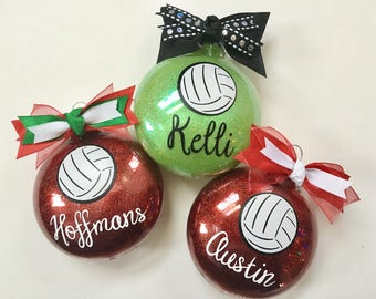 One Personalized Volleyball Christmas Ornament - Choose Your Colors