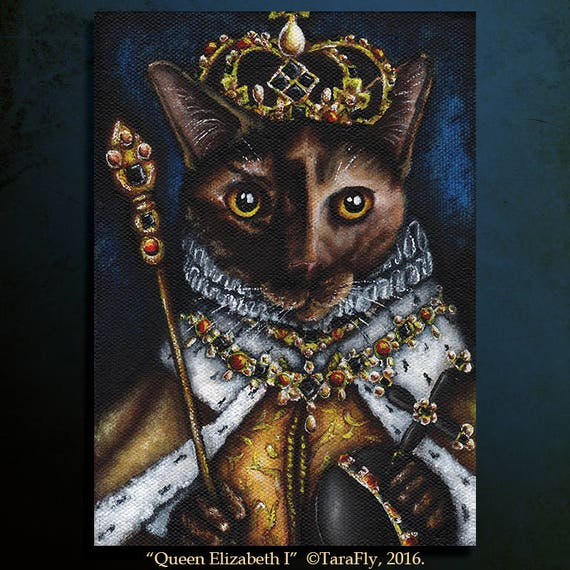 Queen Elizabeth I Cat 5x7 Fine Art Print