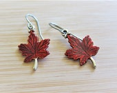Canada Day 150 Maple Leaf Earrings Hand Painted
