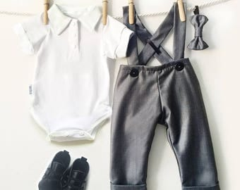 Gray Pinstripe Suiting Baby Boy Outfit, 4 Piece Boys Pinstripe Suit, Boy Dressy Outfit, Baby Suit, Baby Boy Dress Clothes, Cute Boy Clothes