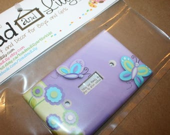 Lilac Green Butterfly Nursery Bedroom Single Light Switch Cover LS0029