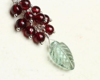 "Fluorite Leaf Necklace, Garnet Necklace, Sterling Silver - ""Springleaf"" by CircesHouse on Etsy"