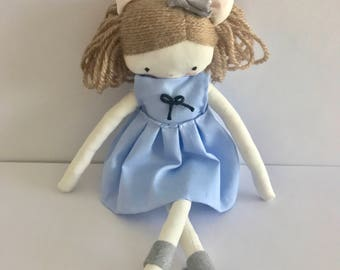Handmade rag doll - handmade size pocket  plush toy cloth art doll, light blue dress and bow