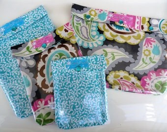 Ouch Pouch 4 Piece Set Clear Pocket Travel Diaper Bag Inserts Get Well Hospital Cosmetics Meds Kit - Paisley on Gray