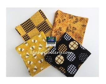 Fabric Napkins Set of 12 Bee Napkins Honey Bee Black Yellow Gold Nature Lover Cloth Napkin Set Sustainable Reusable Homesteading