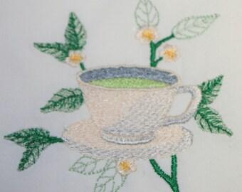 Tea Towel - Green Tea Towel - Embroidered Towel - Tea Cup Towel - Flour Sack Towel - Hand Towel - Bath Towel - Apron -Fingertip Towel