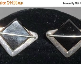 ON SALE Vintage Modernist Sterling Silver Onyx Taxco Mexico Cuff Links Cufflinks 925