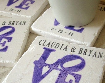 XMASINJULYSale Personalized Purple Love Statue Coasters - Engagement Gift for the Couple