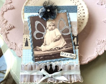 Vintage-style Baby Boy Card - Handmade Boy Card - Handmade Baby Card