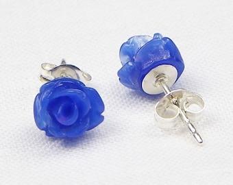 Dark Blue Resin Rose Earrings - Sterling Silver - 7MM - Stud Earrings - Flower Earrings - Resin Earrings - Gift