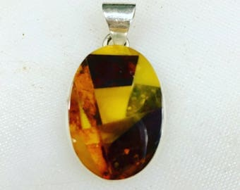 Mosaic Multicolored Baltic Amber Sterling Pendant