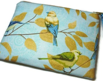 Padded Zipper Pouch Cosmetic Bag in  Fly Away- Golden Garden Birds Print