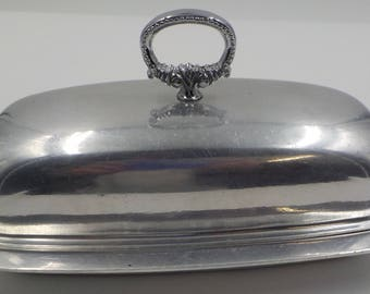 Vintage Stainless Steel Lidded Butter Dish with Glass Insert - Butter dish - Covered Butter dish - Mid Century