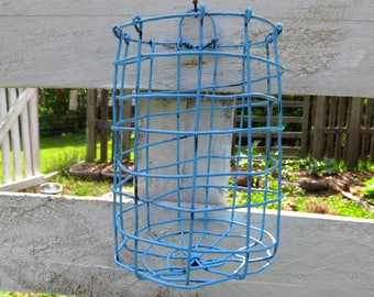 Wire Wall Hanging Basket In Blue