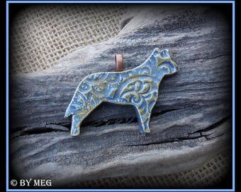 """Blue Heeler, Australian Cattle Dog Pendant, Glazed Earthenware Pottery Ceramic Approx  2"""" Wide **Please Read Description"""
