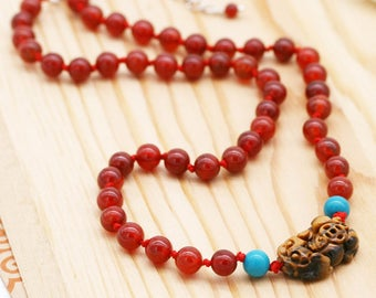 Protection and abundance women's necklace - turquoise, carnelian, and tiger eye Pi Xiu
