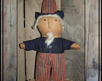 SALE mailed paper pattern Primitive folk art Americana Uncle Sam Doll Flat Uncle Sam Doll HAFAIR OFG faap 487
