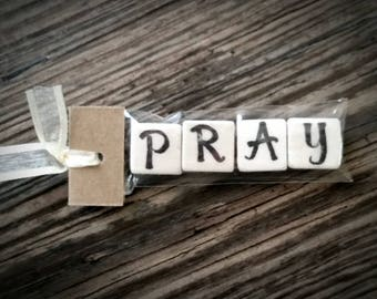 PRAY Tumbled Stone miniMagnet Word Strip