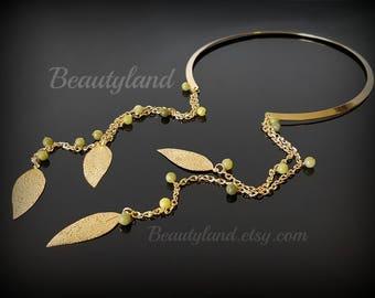 Tassel Choker Tassel Collar Necklace Boho Choker Boho Necklace Gold Choker Gold Tassel Necklace Tassel Jewelry Long Tassel Necklace Green