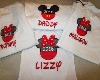 Mickey or Minnie Mouse Applique Shirt