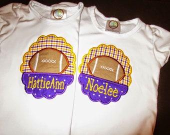 Girly Scallop Football Applique Shirt