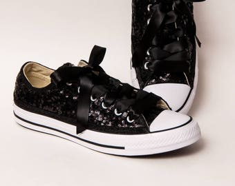 Tiny Sequin - Starlight Black Canvas Low Top Sneakers Shoes with Matching Satin Ribbon Laces