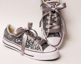Organza - Silver Canvas Converse All Star Low Top Sneakers Shoes with Satin Ribbon Laces
