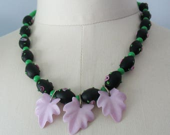 Glass Beaded Necklace Lampwork Purple Leaves Black Purple Green Vintage Beads One of a Kind