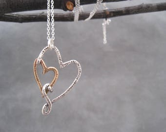 I Carry Your Heart in My Heart - Two Hearts Together -Double Heart Necklace - Love - Heart Jewelry - Metalwork - Mixed Metal