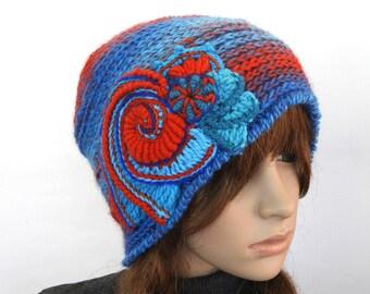 Crochet beanie, Blue Red Crochet Beanie, Hat, women's winter hat, beanie with Freeform Crochet Spiral Motif