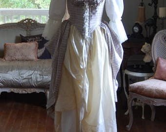 Silk and cotton peasant Victorian Marie Antoinette costume dress with bodice and two upcycled skirts petticoat