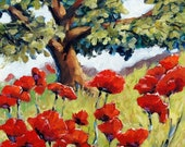 ON SALE Poppies in the Sun - mini Original Oil Painting created by Prankearts