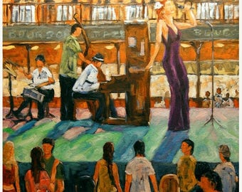 On Sale Love of Jazz - Bourbon Street, New Orleans, Large Oil Painting