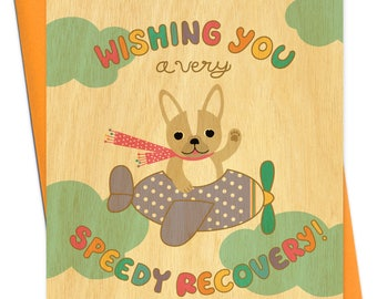 speedy recovery - get well card - real wood card - french bulldog - birch wood card - wc1384