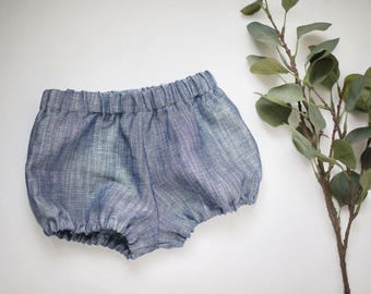 Linen Bloomers, Bubble Shorts, Diaper Cover, Toddler Diaper Cover, Chambray Blue Linen Bloomers, Baby Shorts, Blue Bloomers, Chambray Shorts