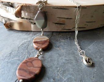 Storm Horizon - Red Creek Jasper and sterling silver necklace - OOAK - ready to ship