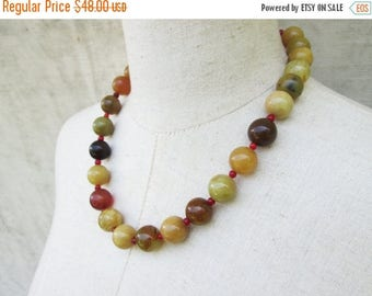 XMAS in JULY SALE Harvest Gold Earth Tones Natural Jade Chunky Beaded Necklace, Single Strand Big Beads Neutral Colors